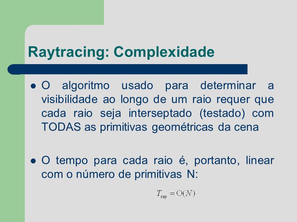 Raytracing: Complexidade O algoritmo usado para determinar a visibilidade ao longo de um raio requer que cada raio seja interseptado (testado) com TOD