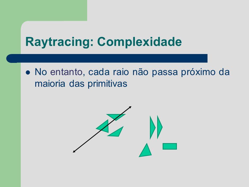Raytracing: Complexidade No entanto, cada raio não passa próximo da maioria das primitivas