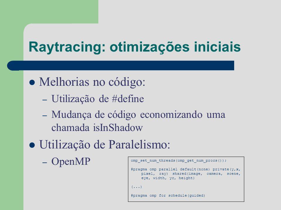 Raytracing: otimizações iniciais Melhorias no código: – Utilização de #define – Mudança de código economizando uma chamada isInShadow Utilização de Pa