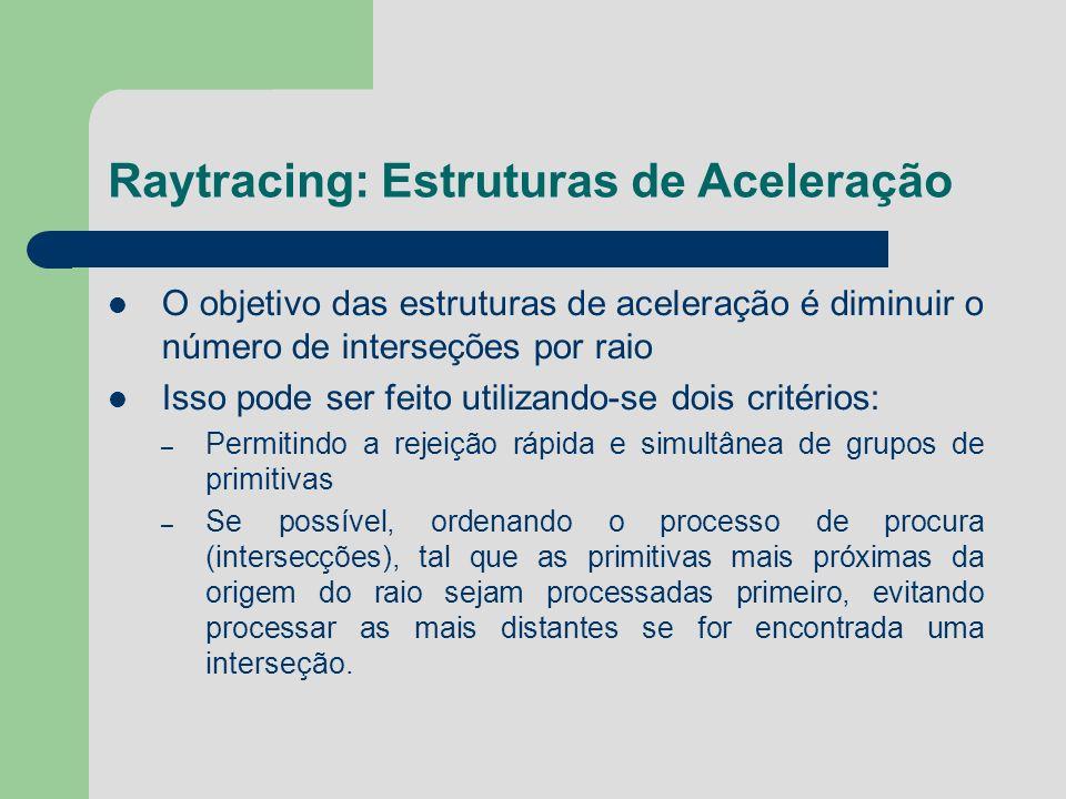 Raytracing: Estruturas de Aceleração O objetivo das estruturas de aceleração é diminuir o número de interseções por raio Isso pode ser feito utilizand
