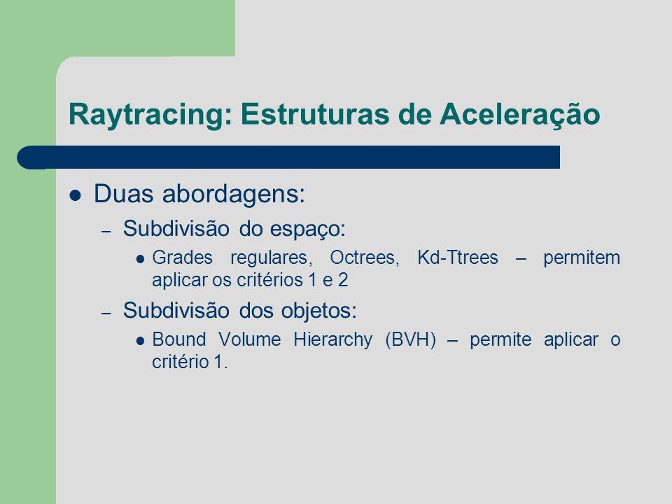 Raytracing: Estruturas de Aceleração Duas abordagens: – Subdivisão do espaço: Grades regulares, Octrees, Kd-Ttrees – permitem aplicar os critérios 1 e
