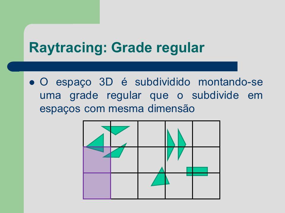 Raytracing: Grade regular O espaço 3D é subdividido montando-se uma grade regular que o subdivide em espaços com mesma dimensão