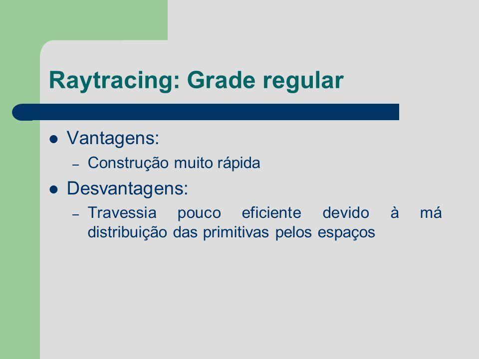 Raytracing: Grade regular Vantagens: – Construção muito rápida Desvantagens: – Travessia pouco eficiente devido à má distribuição das primitivas pelos