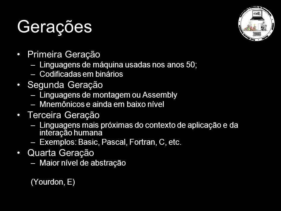 Gerações Primeira Geração –Linguagens de máquina usadas nos anos 50; –Codificadas em binários Segunda Geração –Linguagens de montagem ou Assembly –Mnemônicos e ainda em baixo nível Terceira Geração –Linguagens mais próximas do contexto de aplicação e da interação humana –Exemplos: Basic, Pascal, Fortran, C, etc.