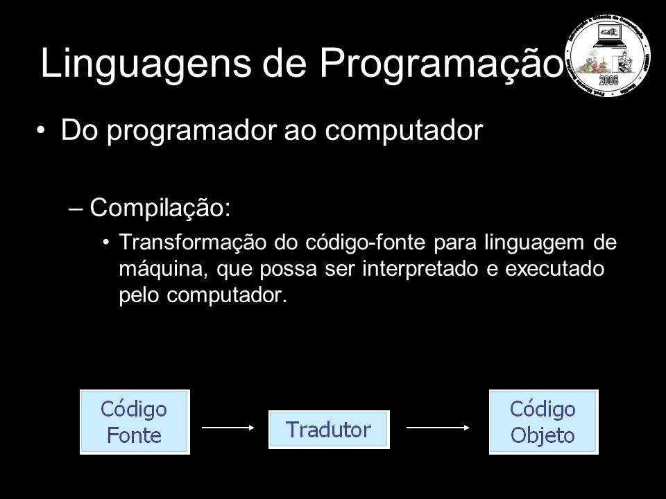Linguagens de Programação Do programador ao computador –Compilação: Transformação do código-fonte para linguagem de máquina, que possa ser interpretado e executado pelo computador.