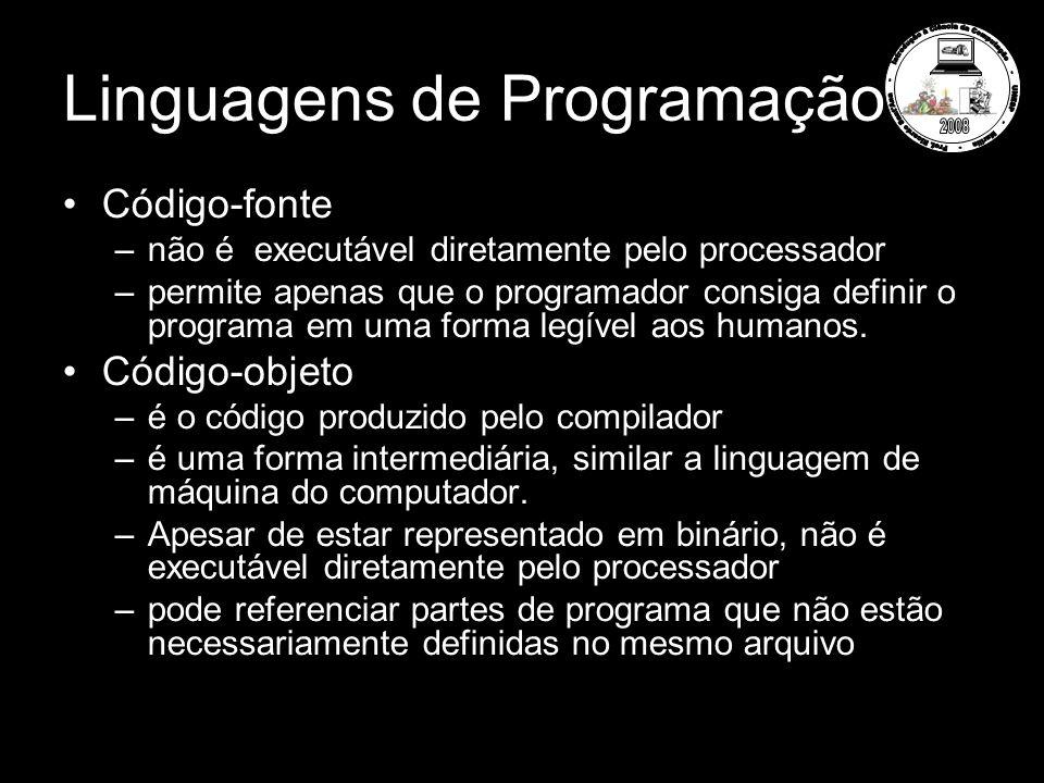 Linguagens de Programação Código-fonte –não é executável diretamente pelo processador –permite apenas que o programador consiga definir o programa em