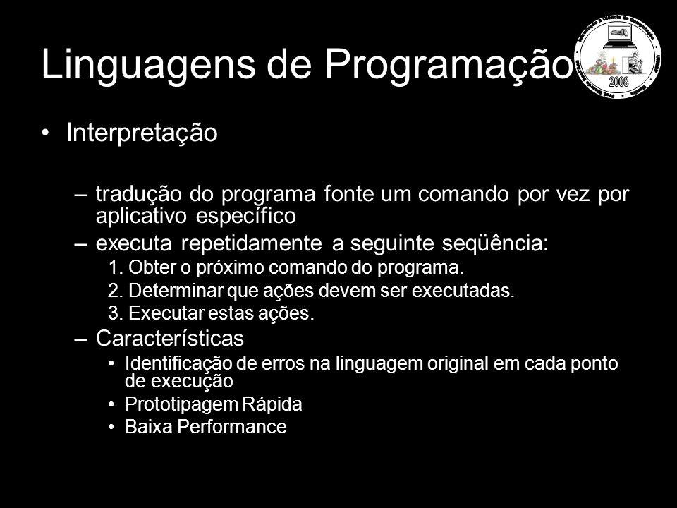 Linguagens de Programação Interpretação –tradução do programa fonte um comando por vez por aplicativo específico –executa repetidamente a seguinte seq