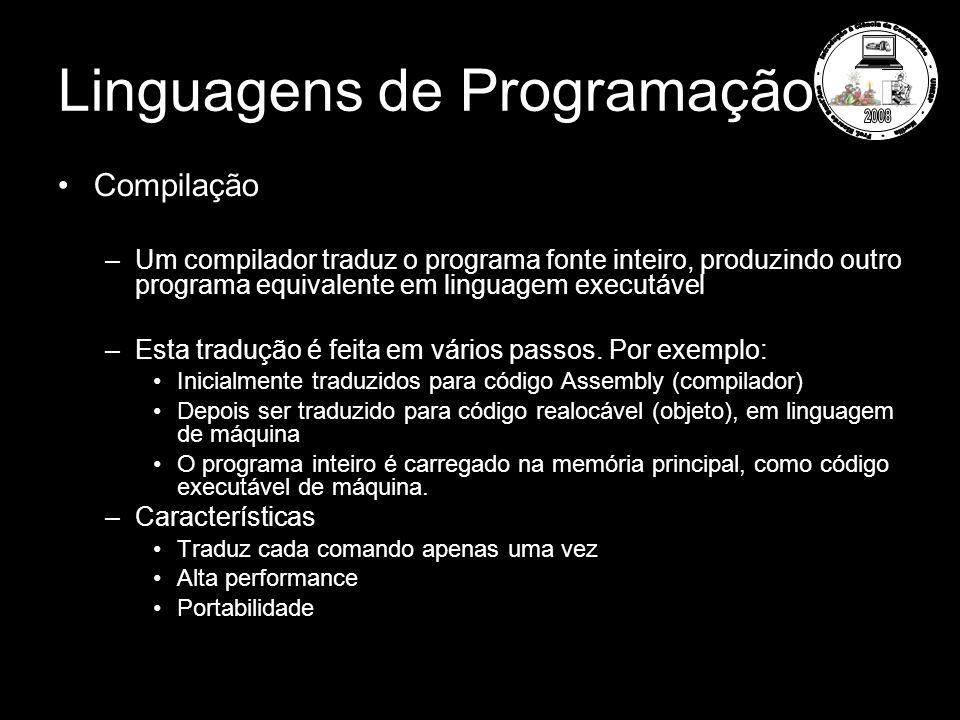 Linguagens de Programação Compilação –Um compilador traduz o programa fonte inteiro, produzindo outro programa equivalente em linguagem executável –Es