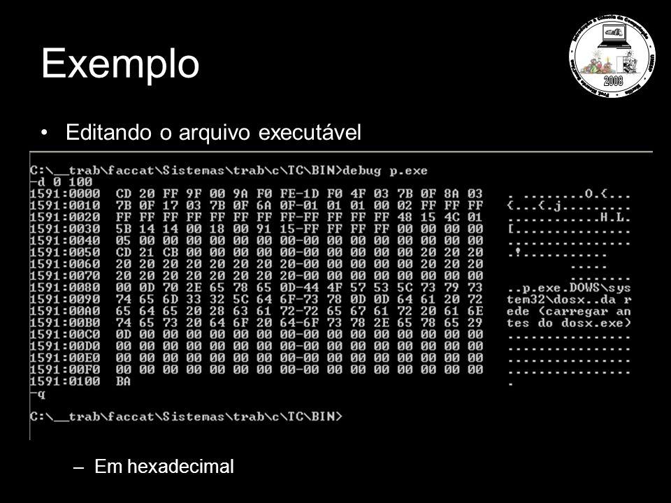 Exemplo Editando o arquivo executável –Em hexadecimal