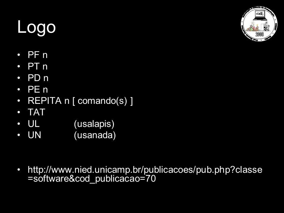 Logo PF n PT n PD n PE n REPITA n [ comando(s) ] TAT UL(usalapis) UN(usanada) http://www.nied.unicamp.br/publicacoes/pub.php classe =software&cod_publicacao=70