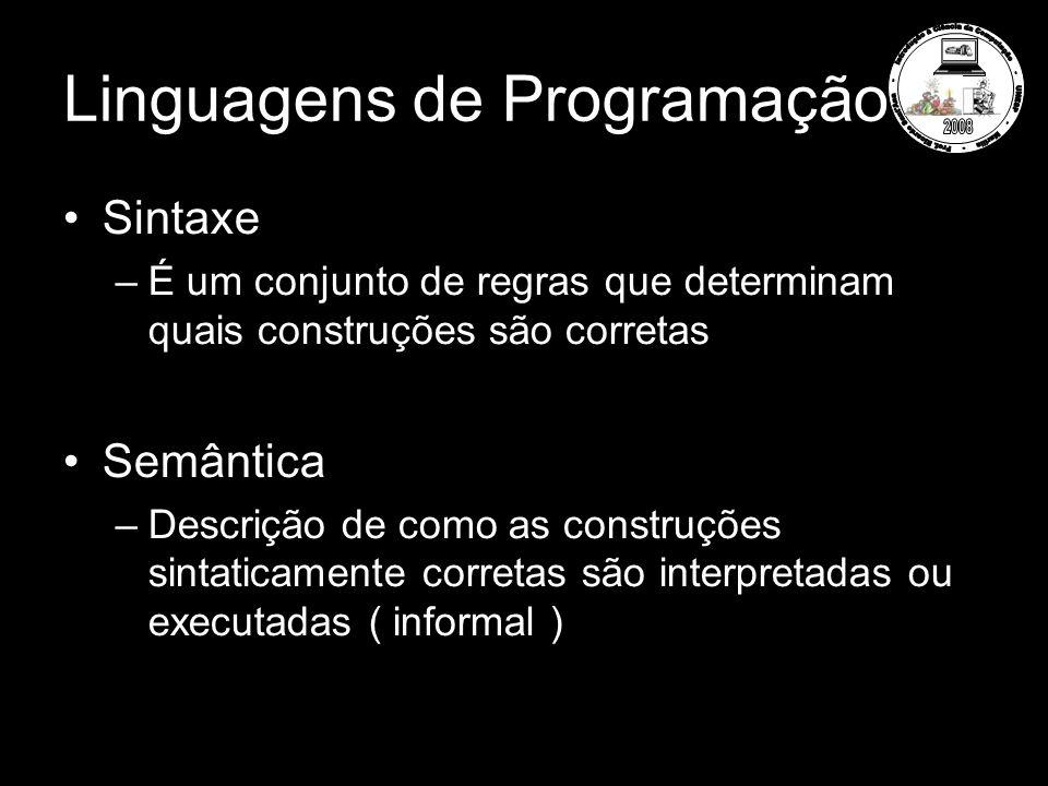 Linguagens de Programação Sintaxe –É um conjunto de regras que determinam quais construções são corretas Semântica –Descrição de como as construções s