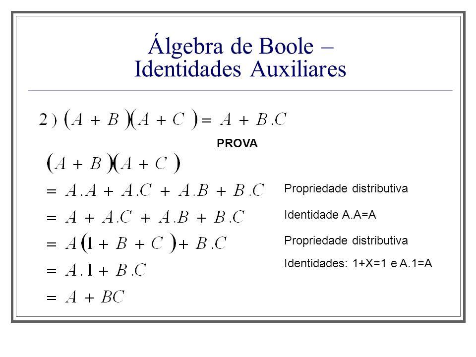 Álgebra de Boole – Identidades Auxiliares Propriedade distributiva PROVA Identidade A.A=A Propriedade distributiva Identidades: 1+X=1 e A.1=A