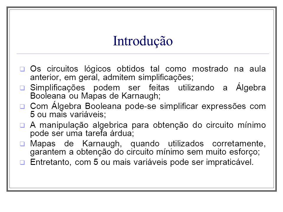 Introdução Os circuitos lógicos obtidos tal como mostrado na aula anterior, em geral, admitem simplificações; Simplificações podem ser feitas utilizan