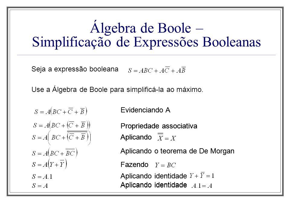 Álgebra de Boole – Simplificação de Expressões Booleanas Seja a expressão booleana Use a Álgebra de Boole para simplificá-la ao máximo. Propriedade as