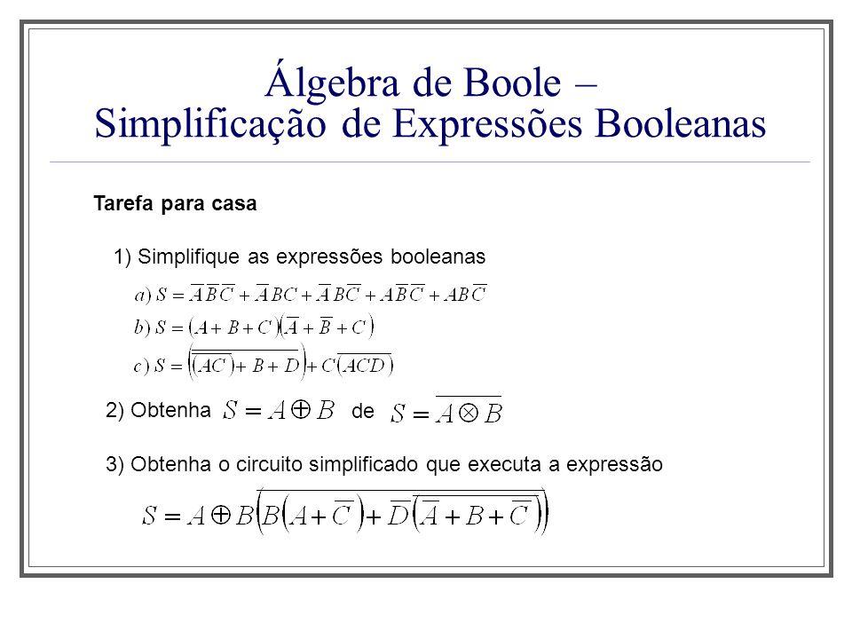 Álgebra de Boole – Simplificação de Expressões Booleanas Tarefa para casa 1) Simplifique as expressões booleanas 2) Obtenha de 3) Obtenha o circuito s