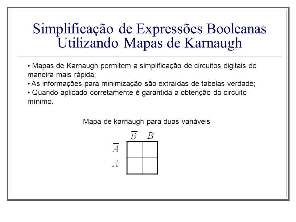 Simplificação de Expressões Booleanas Utilizando Mapas de Karnaugh Mapas de Karnaugh permitem a simplificação de circuitos digitais de maneira mais rá