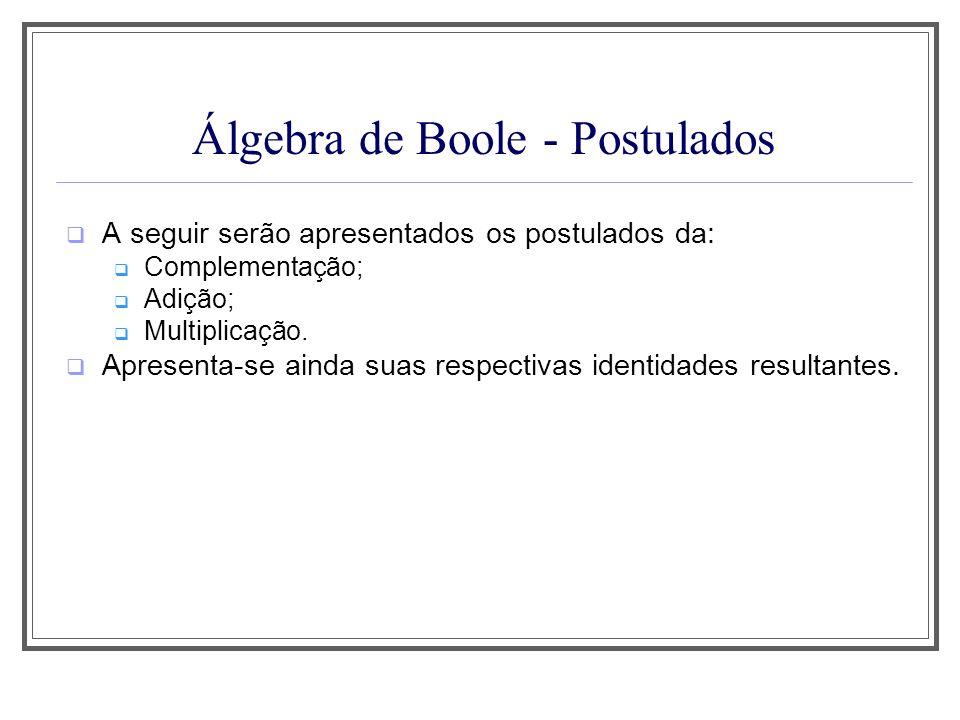 Álgebra de Boole - Postulados A seguir serão apresentados os postulados da: Complementação; Adição; Multiplicação. Apresenta-se ainda suas respectivas