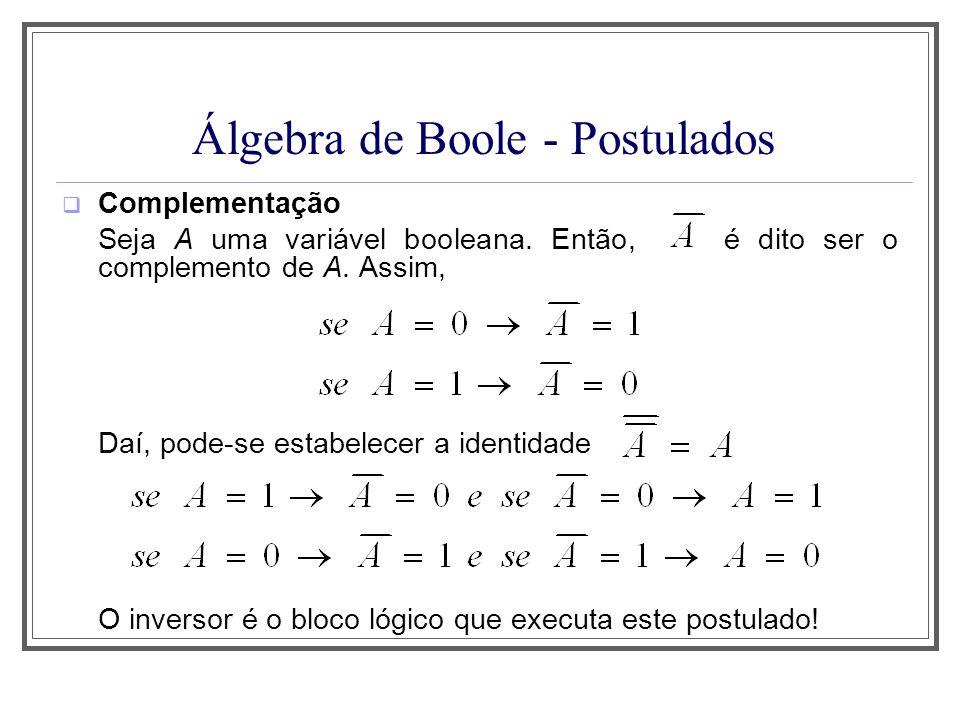 Álgebra de Boole - Postulados Complementação Seja A uma variável booleana. Então, é dito ser o complemento de A. Assim, Daí, pode-se estabelecer a ide