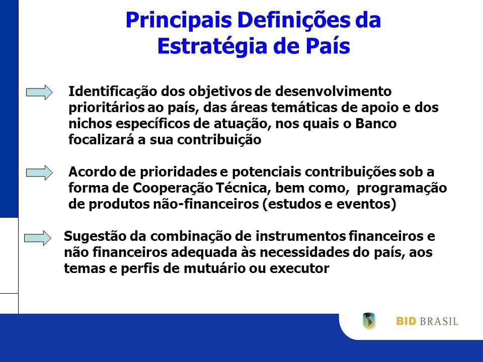 Principais Definições da Estratégia de País Identificação dos objetivos de desenvolvimento prioritários ao país, das áreas temáticas de apoio e dos nichos específicos de atuação, nos quais o Banco focalizará a sua contribuição Acordo de prioridades e potenciais contribuições sob a forma de Cooperação Técnica, bem como, programação de produtos não-financeiros (estudos e eventos) Sugestão da combinação de instrumentos financeiros e não financeiros adequada às necessidades do país, aos temas e perfis de mutuário ou executor