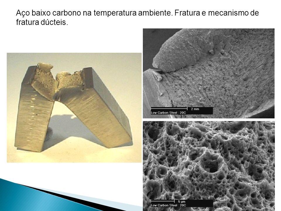 Aço baixo carbono na temperatura ambiente. Fratura e mecanismo de fratura dúcteis.