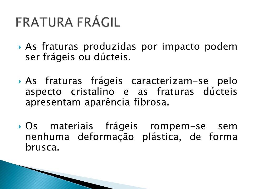 As fraturas produzidas por impacto podem ser frágeis ou dúcteis. As fraturas frágeis caracterizam-se pelo aspecto cristalino e as fraturas dúcteis apr