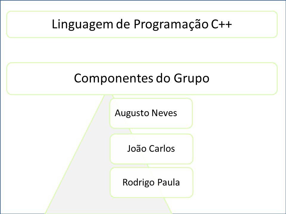 Augusto NevesJoão CarlosRodrigo Paula Linguagem de Programação C++ Componentes do Grupo