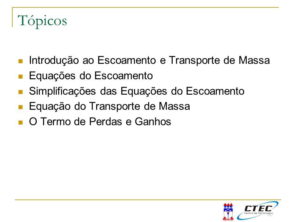 Tópicos Introdução ao Escoamento e Transporte de Massa Equações do Escoamento Simplificações das Equações do Escoamento Equação do Transporte de Massa