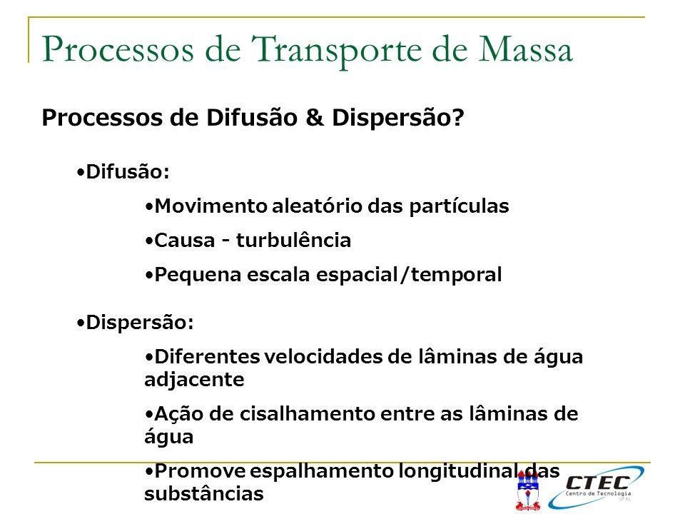 Processos de Difusão & Dispersão? Difusão: Movimento aleatório das partículas Causa - turbulência Pequena escala espacial/temporal Dispersão: Diferent