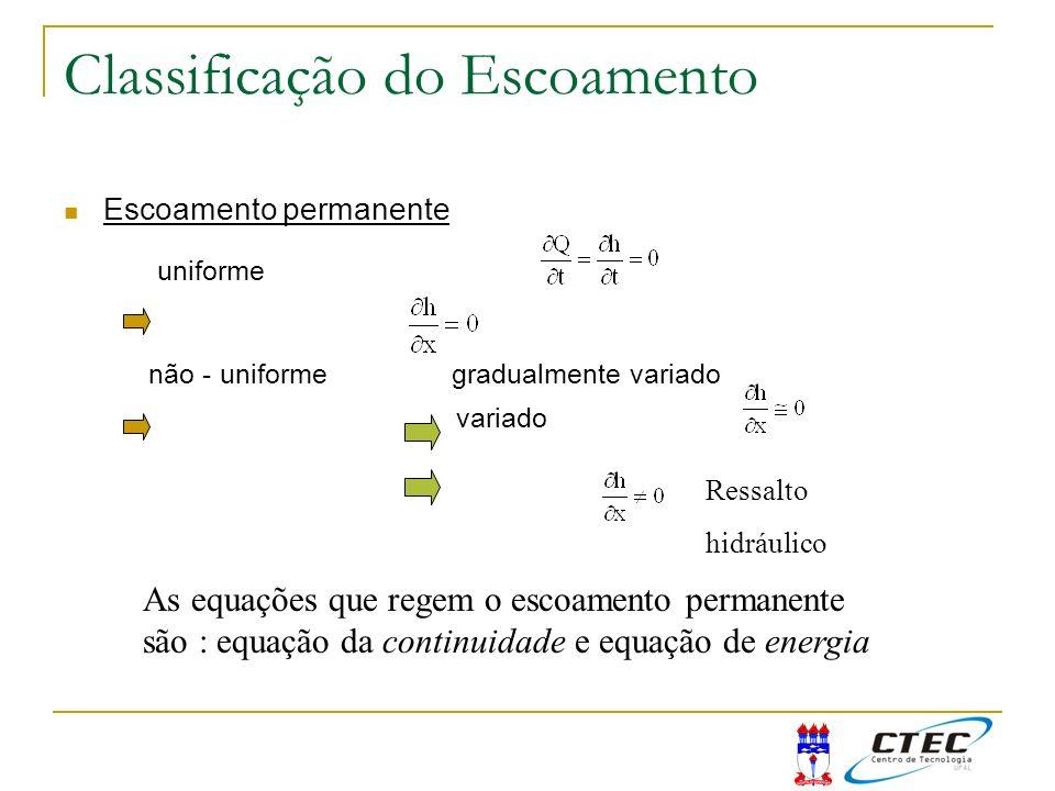 Classificação do Escoamento Escoamento permanente uniforme não - uniforme gradualmente variado variado Ressalto hidráulico As equações que regem o esc