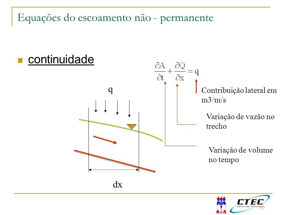 Equações do escoamento não - permanente continuidade q dx Contribuição lateral em m3/m/s Variação de vazão no trecho Variação de volume no tempo