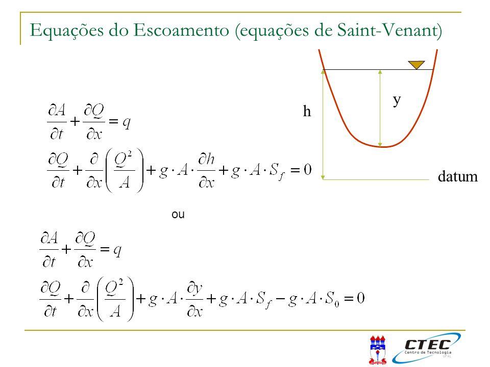 Equações do Escoamento (equações de Saint-Venant) ou h y datum