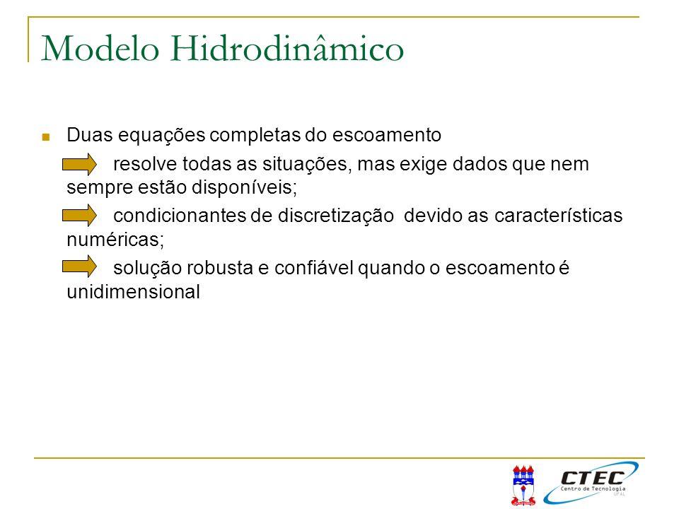 Modelo Hidrodinâmico Duas equações completas do escoamento resolve todas as situações, mas exige dados que nem sempre estão disponíveis; condicionante