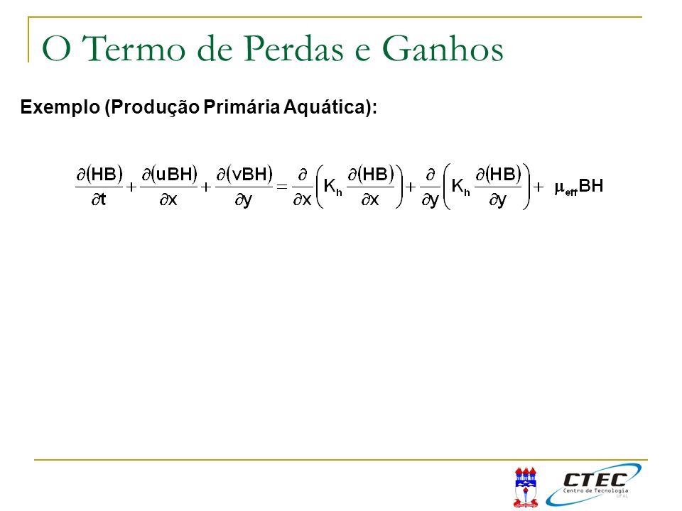 Exemplo (Produção Primária Aquática): O Termo de Perdas e Ganhos
