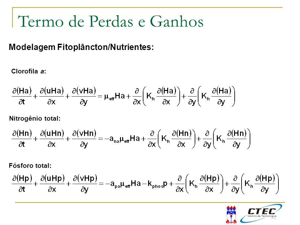 Modelagem Fitoplâncton/Nutrientes: Clorofila a: Nitrogênio total: Fósforo total: Termo de Perdas e Ganhos