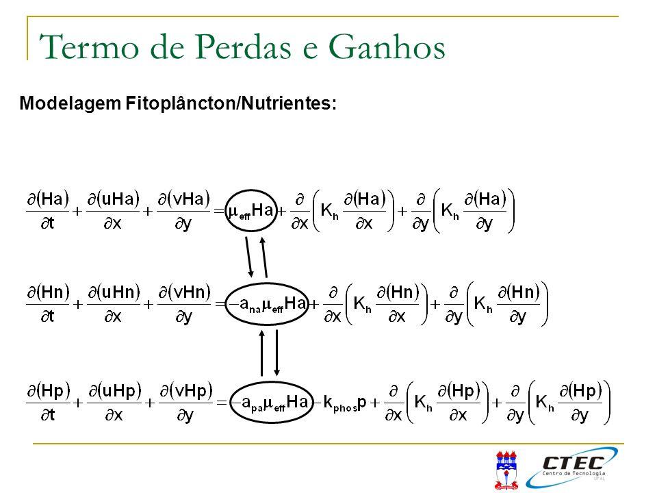 Modelagem Fitoplâncton/Nutrientes: Termo de Perdas e Ganhos