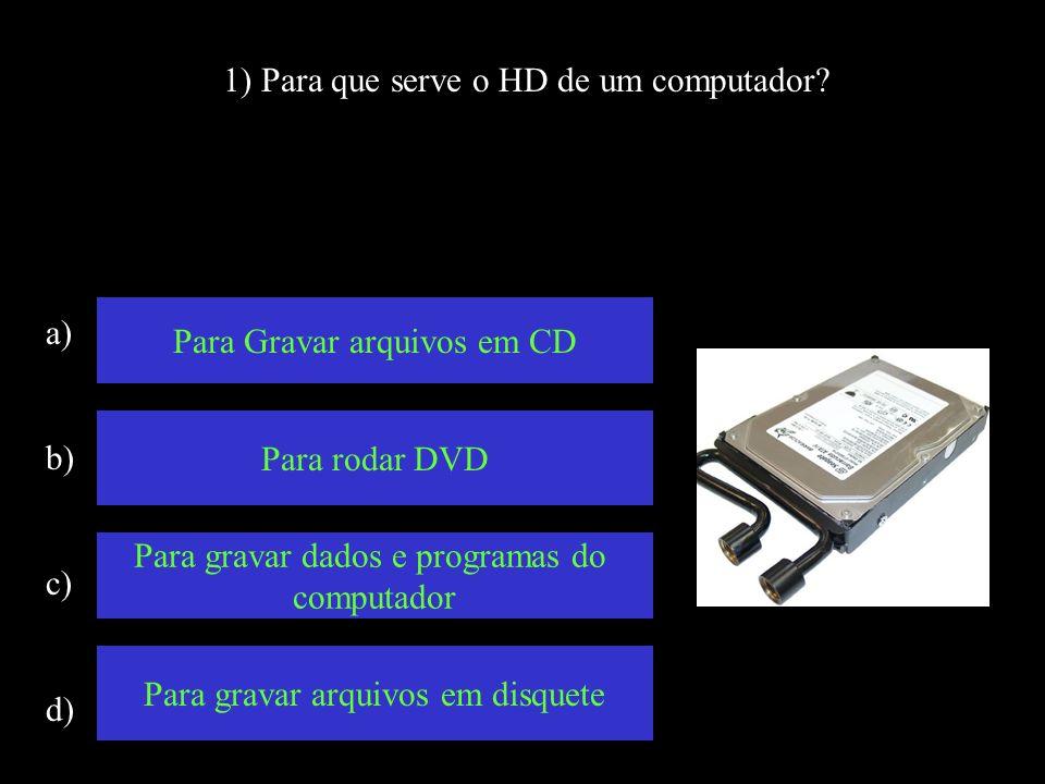 1) Para que serve o HD de um computador.
