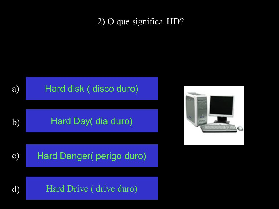 2) O que significa HD.