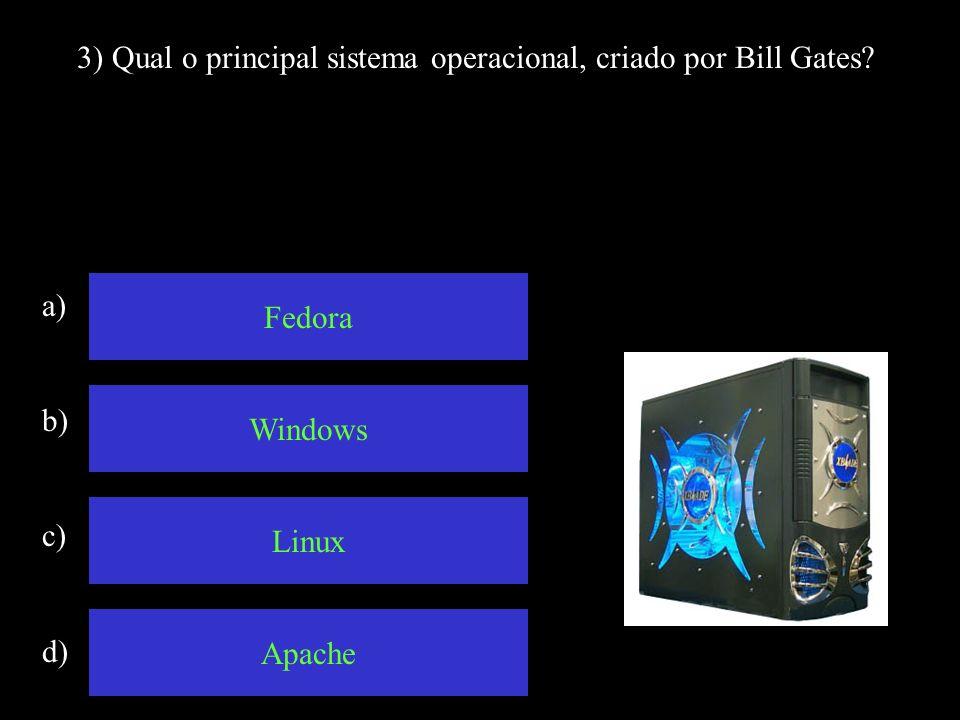 3) Qual o principal sistema operacional, criado por Bill Gates.