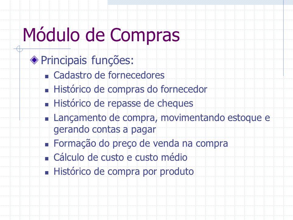 Módulo de Compras Principais funções: Cadastro de fornecedores Histórico de compras do fornecedor Histórico de repasse de cheques Lançamento de compra