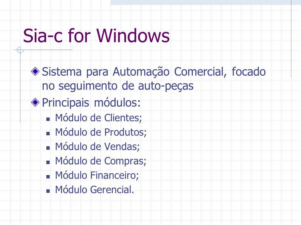Sistema para Automação Comercial, focado no seguimento de auto-peças Principais módulos: Módulo de Clientes; Módulo de Produtos; Módulo de Vendas; Mód