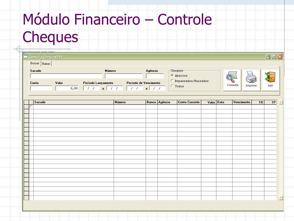 Módulo Financeiro – Controle Cheques
