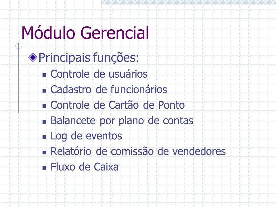 Módulo Gerencial Principais funções: Controle de usuários Cadastro de funcionários Controle de Cartão de Ponto Balancete por plano de contas Log de ev