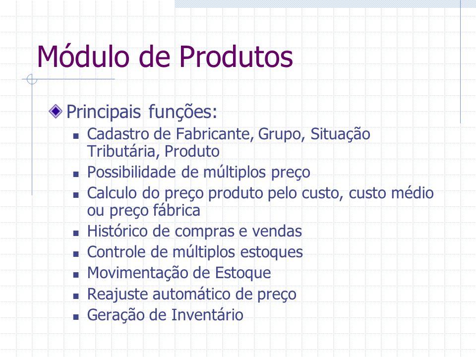Módulo de Produtos Principais funções: Cadastro de Fabricante, Grupo, Situação Tributária, Produto Possibilidade de múltiplos preço Calculo do preço p