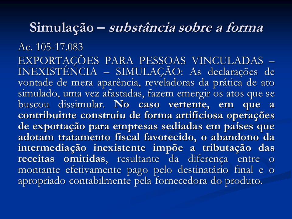 Simulação – substância sobre a forma Ac. 105-17.083 EXPORTAÇÕES PARA PESSOAS VINCULADAS – INEXISTÊNCIA – SIMULAÇÃO: As declarações de vontade de mera
