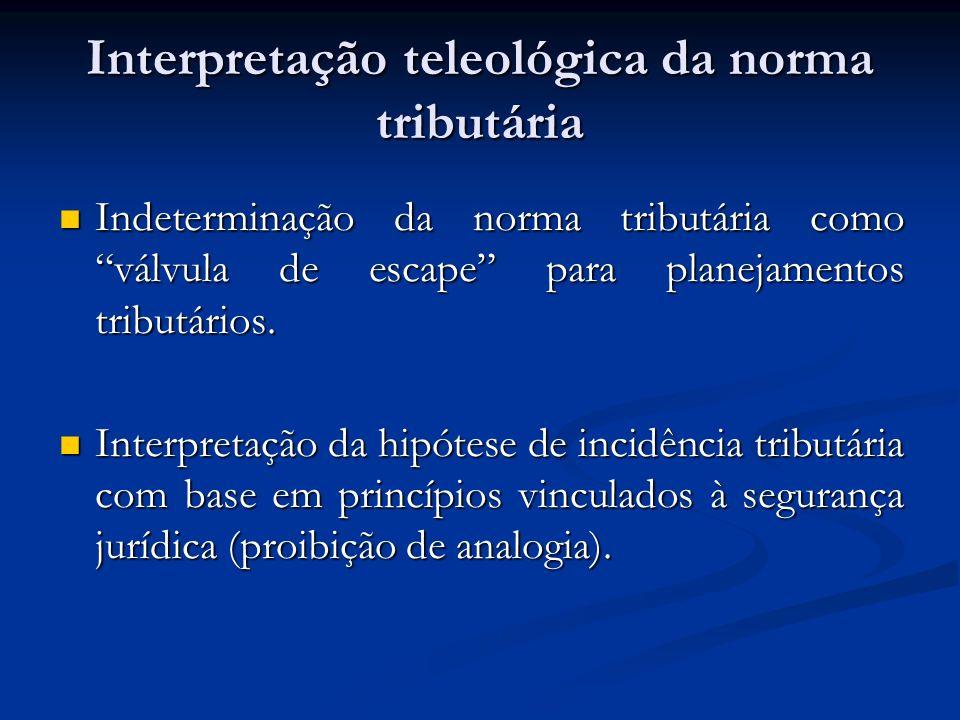 Interpretação teleológica da norma tributária Indeterminação da norma tributária como válvula de escape para planejamentos tributários. Indeterminação