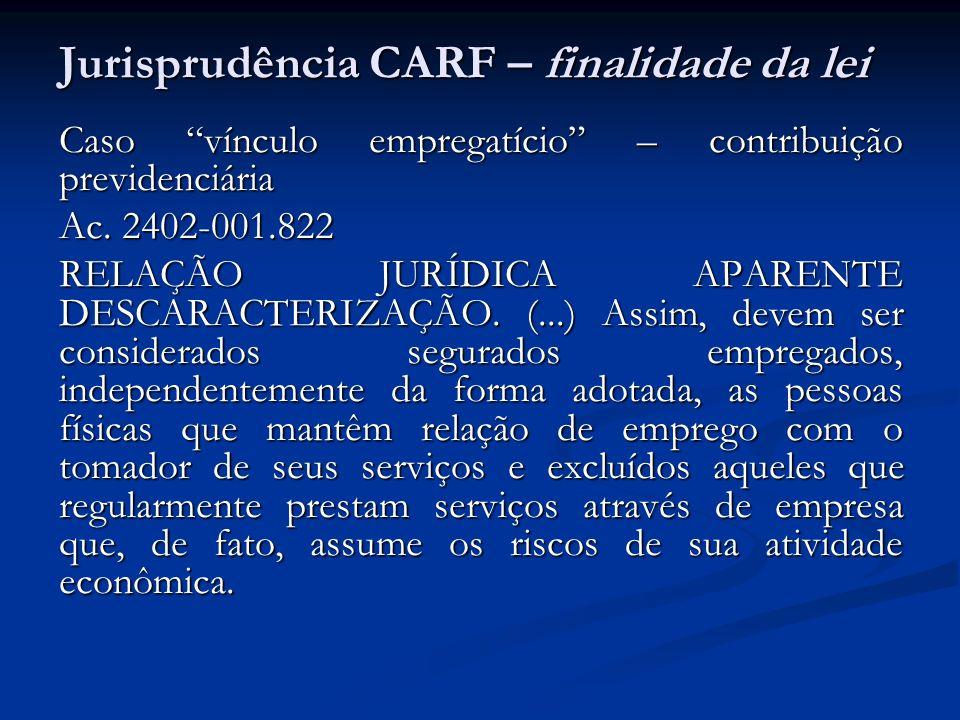 Jurisprudência CARF – finalidade da lei Caso vínculo empregatício – contribuição previdenciária Ac. 2402-001.822 RELAÇÃO JURÍDICA APARENTE DESCARACTER