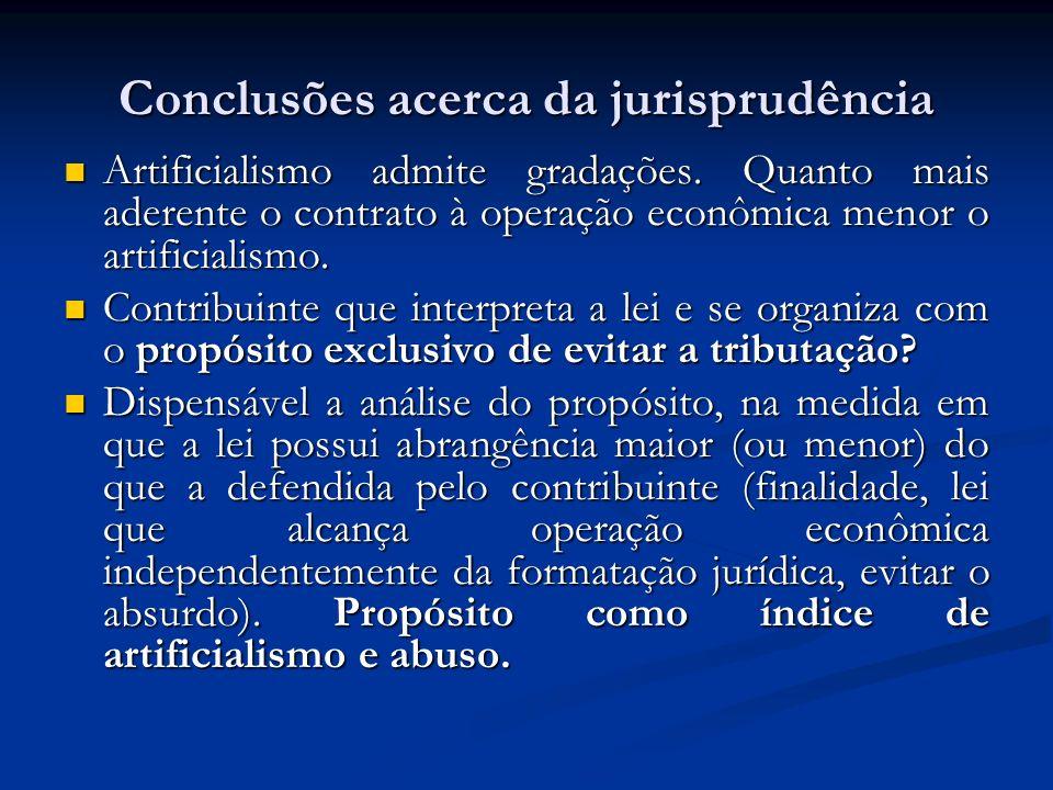 Conclusões acerca da jurisprudência Artificialismo admite gradações. Quanto mais aderente o contrato à operação econômica menor o artificialismo. Arti