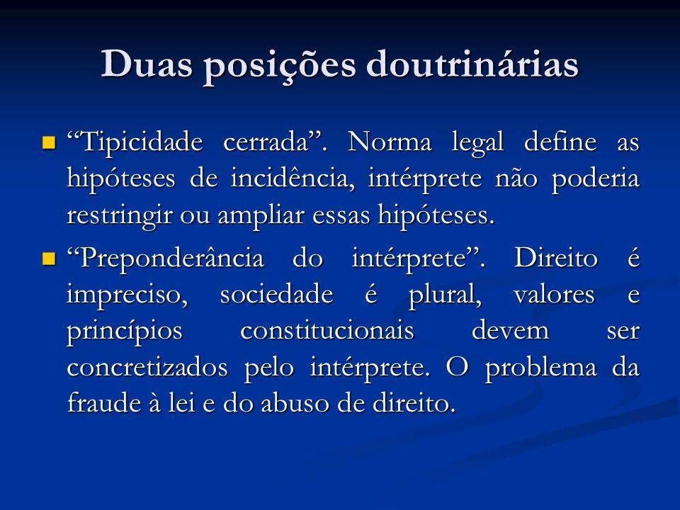 Duas posições doutrinárias Tipicidade cerrada. Norma legal define as hipóteses de incidência, intérprete não poderia restringir ou ampliar essas hipót