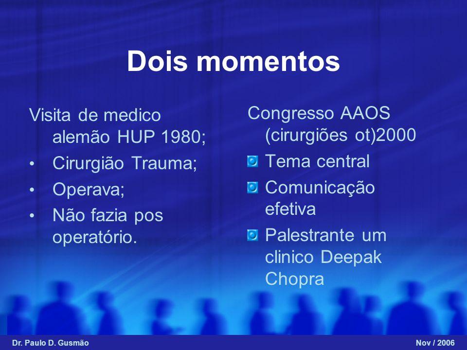 Dois momentos Congresso AAOS (cirurgiões ot)2000 Tema central Comunicação efetiva Palestrante um clinico Deepak Chopra Visita de medico alemão HUP 198