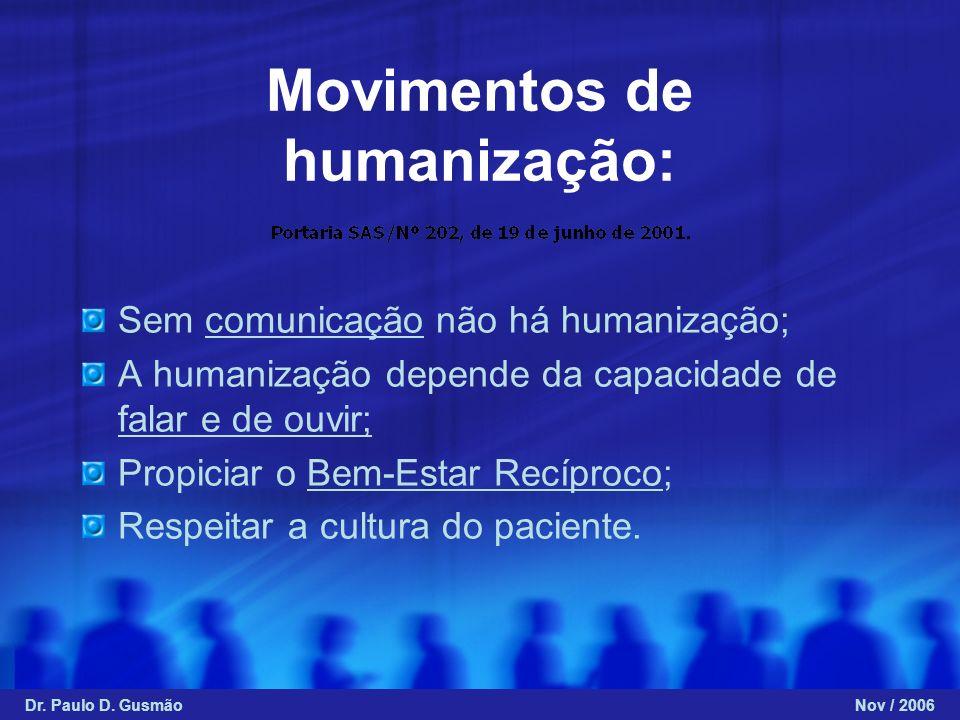 Movimentos de humanização: Sem comunicação não há humanização; A humanização depende da capacidade de falar e de ouvir; Propiciar o Bem-Estar Recíproc